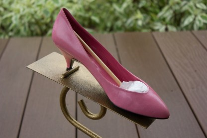 Vtg Women's SASHA LONDON Pink Rose Leather Pumps Shoes Heels Size 5.5 Spain NWOT