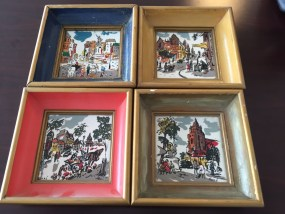 Vintage Set Of 4 Poche French Paris Street Scenes Tiles Art Handpainted Framed