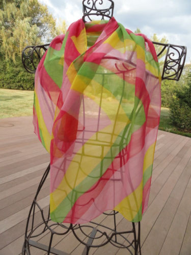 Vintage 1960's Pop Art Colored Sheer Scarf Handmade Hand Rolled Edges