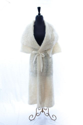 Vintage Handmade Knit Double Cloaked Sweater Coat White Made In France NWOT