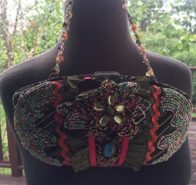 Pritzi Purse Bag Multi Colored Flower Hand Beaded Cloth Ruffled Blue Oval Stone