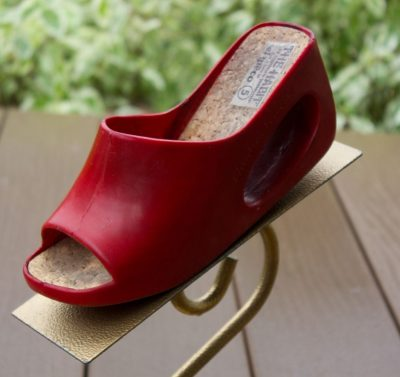 Vtg Women's THE HABIT BY CHRISTIAN VERMONET Red Platform Shoes FOR EL GRECO S 5