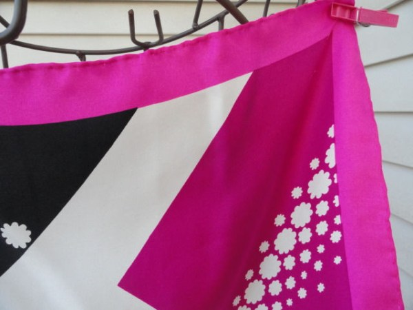 Vintage 1970's GIVENCHY Scarf Pink White Black Abstract Pattern All Silk