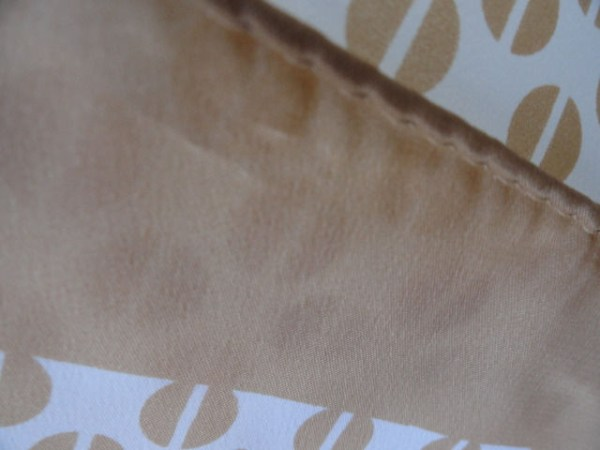 Vintage 1970's Paoli Beige & White Circle Abstract Scarf 100% Polyester Japan