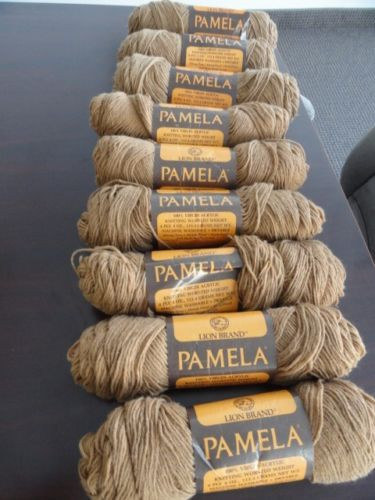 Vtg 70's 9 Scans LION BRAND PAMELA Knitted Worsted Weight Yarn Camel 124 Acrylic