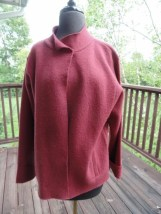 Women's CAROL LITTLE 100% Wool Maroon Jacket Designer Long Sleeve Coat Ex Cond