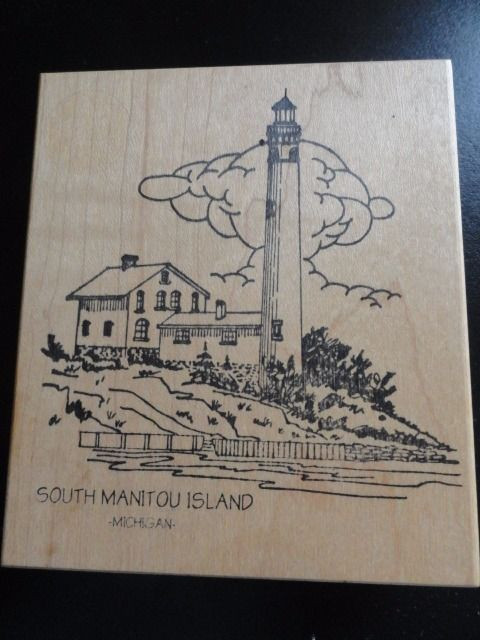 SOUTH MANITOUR ISLAND LIGHTHOUSE Michigan Rubber Ink Stamp Embossing New
