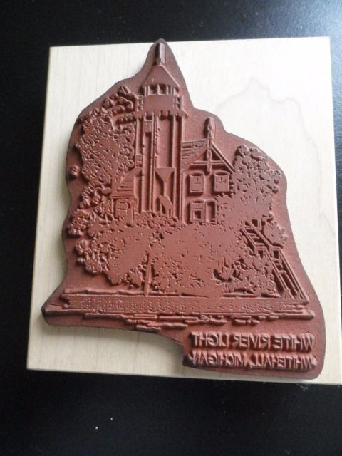 WHITE RIVER LIGHT LIGHTHOUSE Michigan Rubber Ink Stamp Embossing New
