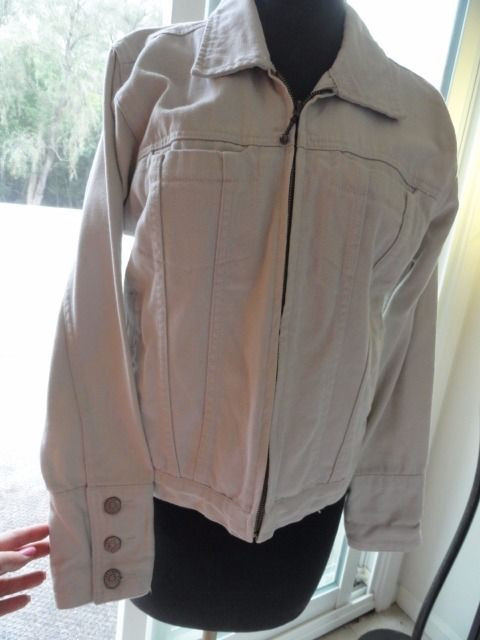 Women's Bill Blass Petite Jeans Off White Jean Jacket Size PS Designer NWOT