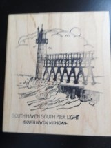 SOUTH HAVEN SOUTH PIER LIGHT LIGHTHOUSE Michigan Rubber Ink Stamp  New