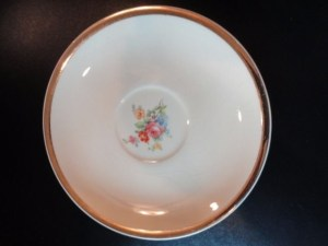 "The Paden City Pottery Co. 6"" Saucer Ivory Gold Rim Floral Pattern Green Stamp"