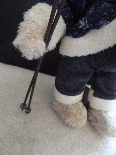 "Vintage Plush Teddy Bear With Poles & Snow Skiis 18"" Winter Scarf Stocking Cap"