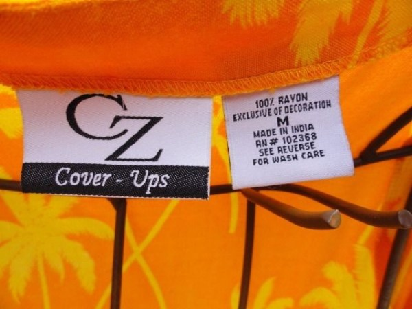 CZ Cover Ups Orange Yellow Sequins Parrots Cover Up & Matching Bag Size M NWOT