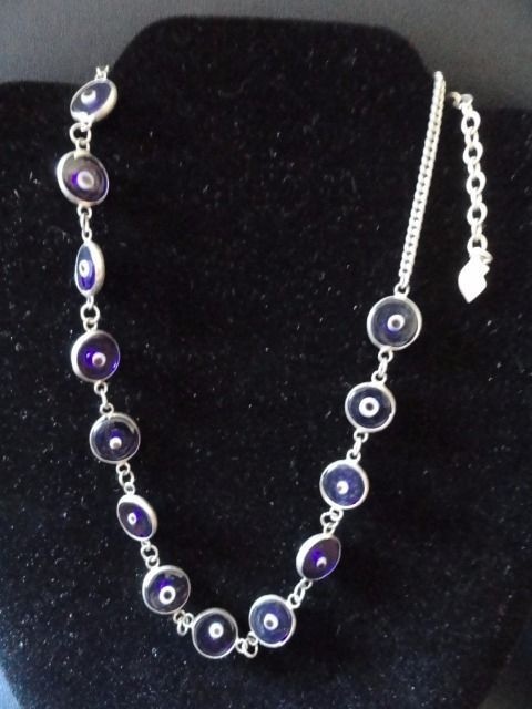5cafb380a90d3 Bisou Bisou Glass Bead Evil Eye Necklace 18″ Adjustable Length 13 Beads  Silver