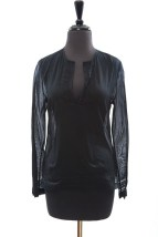 Women's Elie Tahari Jody Blouse Black 100% Cotton Size Small NWT