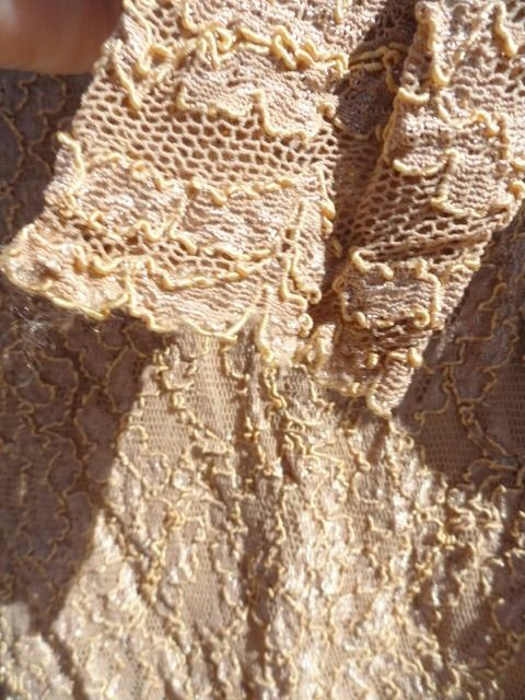 Vintage Women's PATRICIA JONES Lace Leotard Body Suit Long Sleeve Gold Sm NWOT