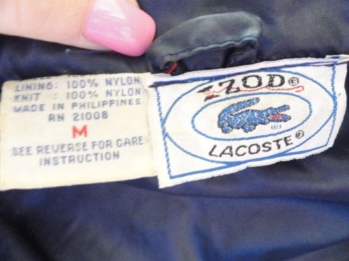 IZOD LACOSTA Navy Blue Windbreaker Jacket Hidden Hood Nylon Size Medium Ex Con