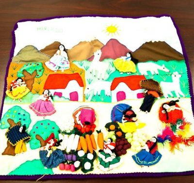 Vtg Peruvian Mercado Tapestry Handcrafted Appliqué Folk Art Wall Hanging Peru