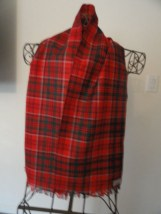 Vintage Ingles Buchan Galashiels Scotland Red Blue Green Plaid Scarf Pure Wool