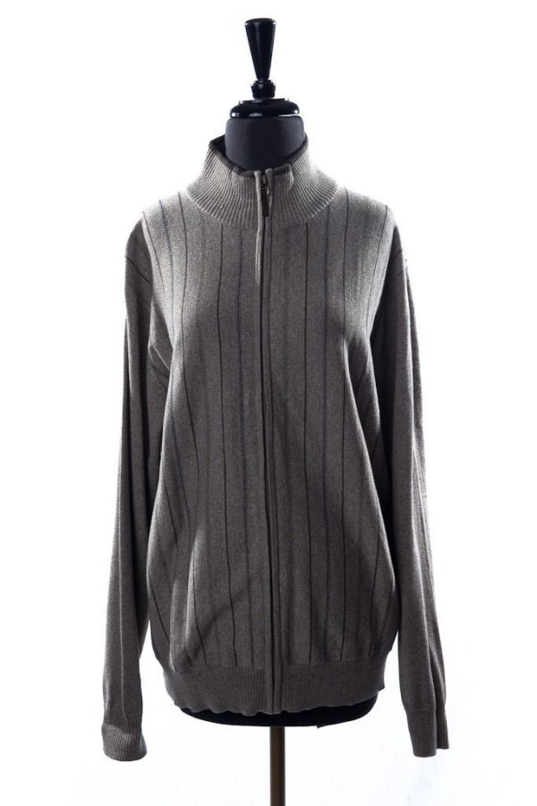 Mens BACHRACH Sweater Front Zipper Beige Large Striped Pattern 100% Cotton NWOT