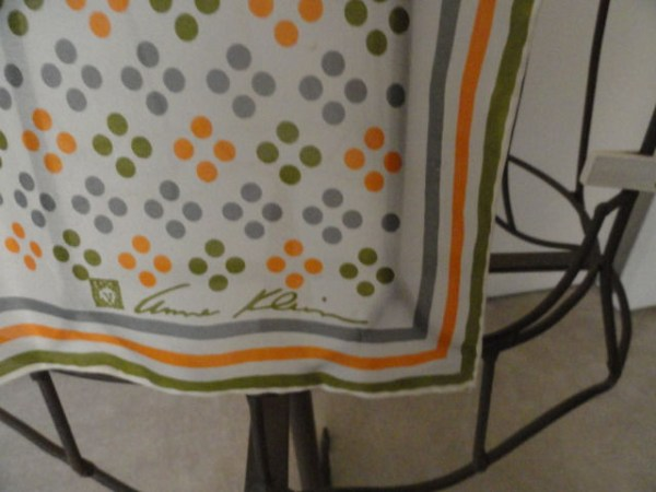 Vintage ANNE KLEIN All Silk Grey Orange White Green Stripes Circles Scarf