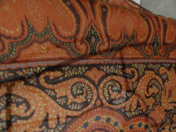 Vintage Anne Klein Brown Paisley Abstract All Silk Scarf No Tag Hand Rolled Edge