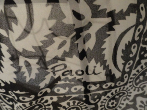 Vintage Paoli Black & White Floral Abstract Paisley Scarf 100% Cotton