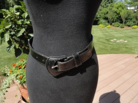 """Vtg Women's Belt LEMIE GENUINE LEATHER Black Made in Italy S 1"""" Wide Preowned"""
