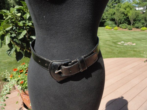"Vtg Women's Belt LEMIE GENUINE LEATHER Black Made in Italy S 1"" Wide Preowned"