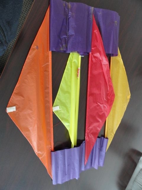 "Vintage GO FLY A KITE Rectangle Box Kite Multi Colored 36"" x 12"" Nylon Preowned"