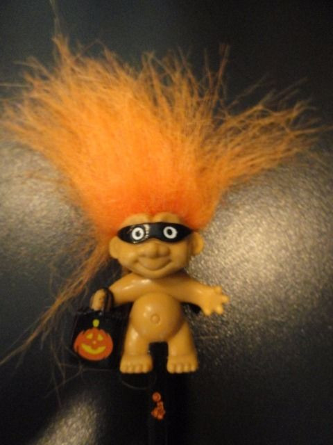 Russ Happy Halloween Masked Troll Doll Pencil Trick Or Treat Bag Bl Orange New