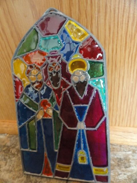 Vtg Christmas Handmade Stained Glass We Three Kings Of Orient Suncatcher Hanger