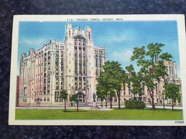 Vintage Postcard Uncirculated Unposted 114:--Masonic Temple, Detroit, Mich.