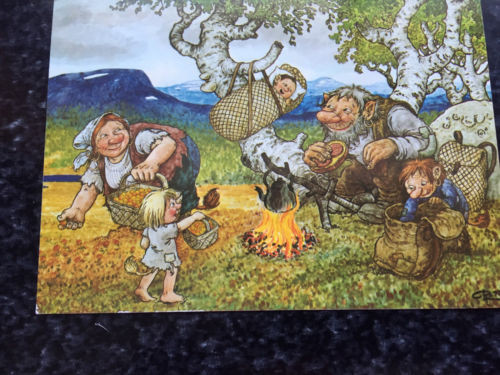 "Vtg Postcard Unposted Rolf Lidberg ""Picking Cloudberries"" Nordic Trollpainting"