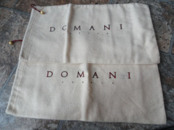 "Vintage DOMINI ITALIA Soft Cloth Shoe Bags Maroon Ties Gold Beads NEW 14""x7.5"""