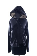 Women's Willie Smith Black  Hoodie Jacket Velour M Leopard Lining In Hood  NWOT