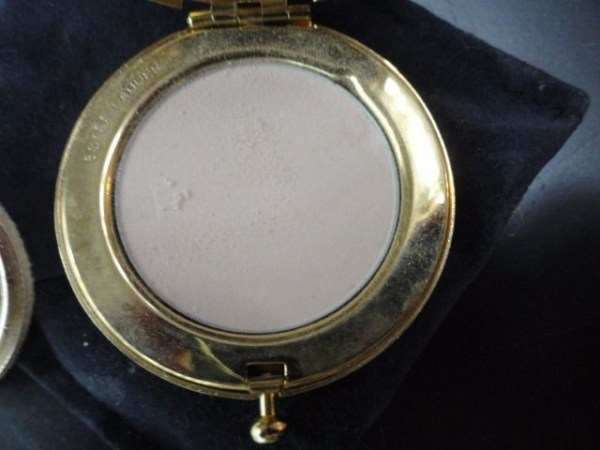 Vintage LUCIDITY Gold Compact Estee Lauder Translucent Pressed Powder Blue Sack