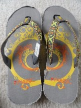 Frisky Girl's Flip Flops Size 1 Grey Yellow Orange NWOT