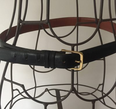 "Black Men's COACH Belt 36""-90CM NYC #5801 Burnished Cowhide Solid Brass Dbl Loop"