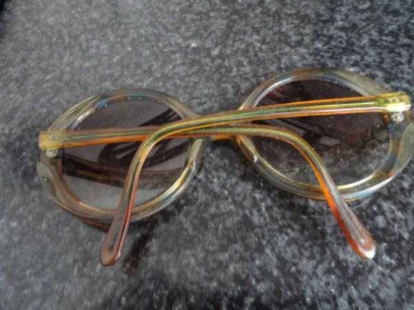 Vintage 60's-70's Round Blue Yellow Plastic Eyeglasses Frames Hip Mod