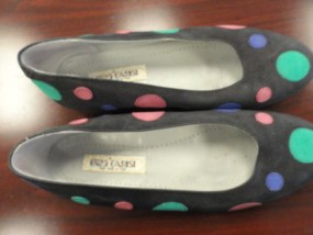 Women's Enzo Carisi Suede Made In Italy Flats Shoes Euro 36 US 6 Black Circles