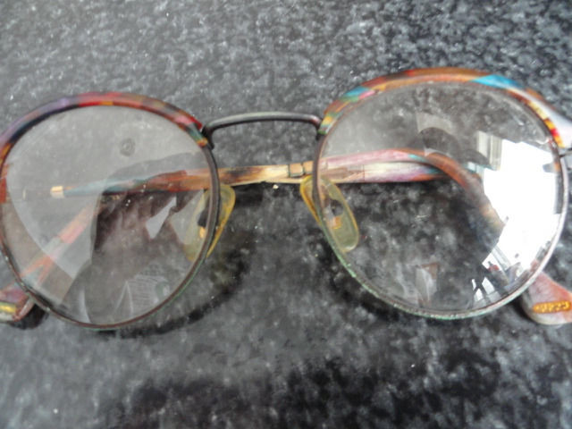 Vintage 1960's GUCCI Multi Colored Plastic Metal Round Eyeglasses Beautiful