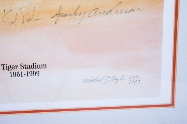 Detroit Tigers All Time Team Lithograph Signed Framed COA 1999 9 Autographs Mint