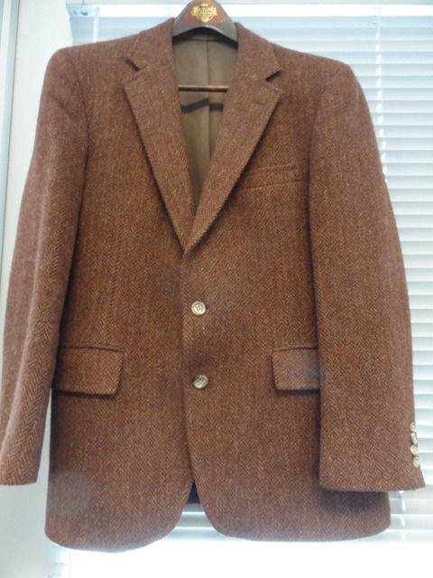 Men's SFA  Stanely Blacker Harris Tweed 100% Wool Sport Jacket Coat 40 S  USA