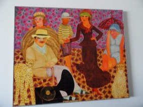 "Vtg 70's"" CHARLESTON CHEETAHS""  Oil On Board Signed Artist Marion Nielson 1972"