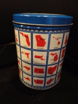 Limited Ed State Capitals Chocolate Chip Walnut Cookies Tin Valleybrook Farms
