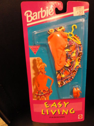 Barbie Easy Living Fashions 1992 Mattel NIP Orange Dress Orange Shoes Hanger