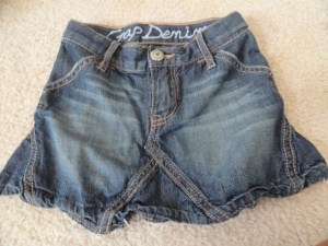 Baby Gap Denim Jean Skirt With Pockets 100% Cotton Button Expander NWOT Size 2