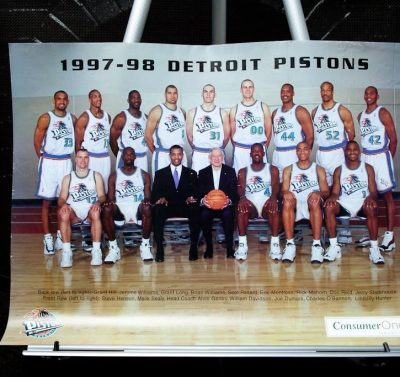 1997-1998 Detroit Pistons Poster Coach Doug Collins The Palace Of Auburn Hills