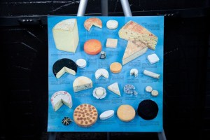 """Vtg 1970's Cheese From France Poster Art Two Sided 15"""" x 15"""" Made In France"""